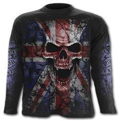 Spiral TShirt with Union Wrath Union Jack Design - Black - Longs
