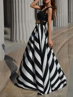 Shop Monochrome Stripe Lace Panel Empire Maxi Dress from choies.com .Free shipping Worldwide.$22.99