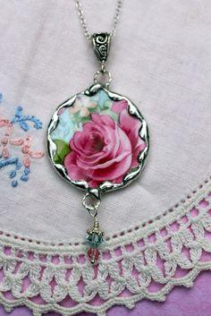 Broken China Jewelry Pendant Necklace Aqua by Robinsnestcreation1, $41.95