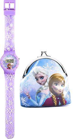Retrouve tes héroïnes sur cet ensemble composé d'une montre digitale et un porte monnaie La reine des neiges. #montre #portemonnaie #lareinedesneiges #disney