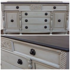 Annie Sloan chalk paint~French linen with clear and dark wax with a Graphite painted to with lots of dark wax! Follow us in Facebook, Instagram, or shop etsy! Weathered to treasured!