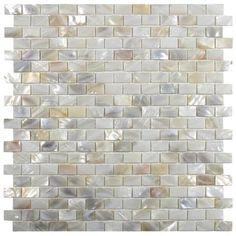 Cream Brick Pearl Shell Tile - Real Mother of Pearl Mosaic Tile, Ships Free! Stone Mosaic Tile, Mosaic Glass, Glass Subway Tile, Kitchen Backsplash, Backsplash Ideas, Tile Ideas, Kitchen Countertops, Wall Tiles, Mosaic Wall
