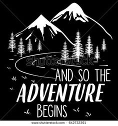 Mountains are calling illustration vector, with road and sign, and so the adventure begins.