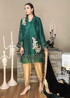 Natural Phenomena, Green Fabric, Cotton Silk, Clothes For Sale, Green And Gold, Loom, Color Schemes, Party Dress
