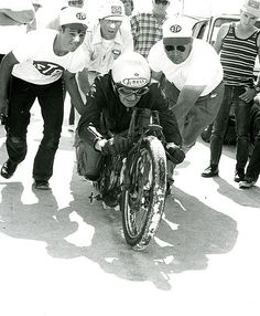Burt Munro .. Riding a modified 950cc Indian motorcycle , 1n 1967 set a land speed record tor a bike under 1000cc at 183.5 mph , with a top speed of on one run of 205.6 mph. this record still stands .