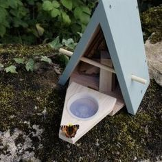 Butterfly biome - interior space for roosting + 2 feeding cups for sugar water/nectar and one for ripe fruit (try mashed banana) Digging A Pond, Live Butterfly Garden, Hedgehog House, Cosy Night In, Bug Hotel, Pick Up Trash, Beneficial Insects, Nesting Boxes, Biomes