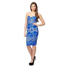 3de04c41ba This bandeau bodycon dress from Lipsy comes in bright blue with a gorgeous  bonded lace design