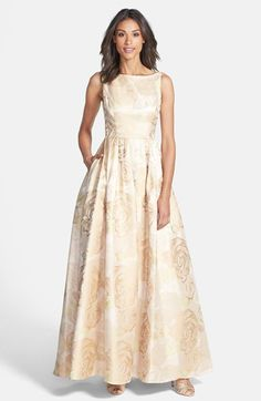 Adrianna Papell Floral Print Jacquard Ballgown available at #Nordstrom; also comes in magenta $258