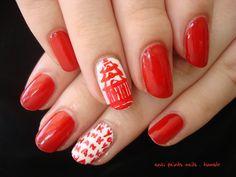 Nail art, accent nail, chinese takeout box, halloween nails