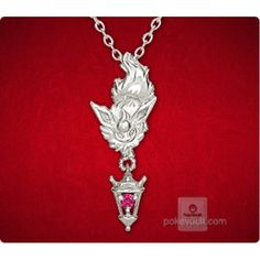Pokemon Center 2015 Flareon Lantern Pendant Necklace With Ruby Stone PRE-ORDER AUGUST 2015