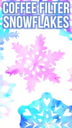 These coffee filter snowflakes are so easy and they are SO PRETTY! Such a fun winter craft! They make beautiful suncatchers if you hang them in the window. Preschool Christmas, Christmas Crafts For Kids, Holiday Crafts, Winter Crafts For Toddlers, Winter Activities For Kids, Crafts For Winter, Snow Crafts, Fun Crafts, Winter Preschool Crafts