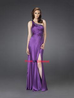 One Shoulder Empire Waist Beading Pleated Bodice Elastic Satin Prom Dress PD10572
