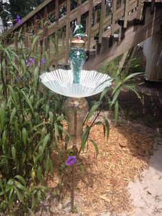 My dolphin birdbath I made , I love reusing old things for yard art Mini Garden, Outdoor, Outdoor Tables, Outdoor Decor, Yard Art, Patio Garden, Outdoor Gardens, Bird Bath, Yard