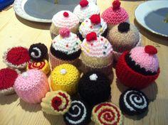 Handmade woolly cupcakes
