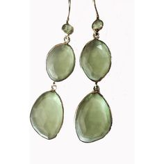 Blue Candy Jewelry Poprox Double Drop Earrings Light Green Amethyst... ($90) ❤ liked on Polyvore featuring jewelry, earrings, green silver, green earrings, 18 karat gold jewelry, 18k earrings, green amethyst earrings and 18k jewelry