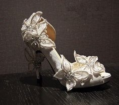 White silk Butterfly crystal Vintage style handmade leather wedding shoes Bridal crystal shoes Bridal heels wedding heels Bridesmaids shoes on Etsy, $139.99
