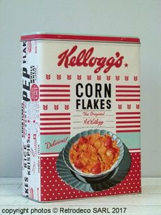 Boîte Corn Flakes Kellogg's The Sunshine breakfast GM Nostalgic Art, Corn Flakes, Vintage Packaging, Ol Days, Good Ol, Tins, Cereal, Sunshine, Creations