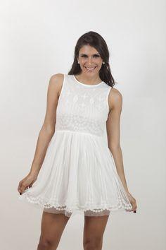 Vestido blanco sin mangas. | G&B Boutique On Line
