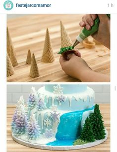 edible trees with icing for a winter or Frozen cake. - - Make edible trees with icing for a winter or Frozen cake. - -Make edible trees with icing for a winter or Frozen cake. - - Make edible trees with icing for a winter or Frozen cake. Pretty Cakes, Cute Cakes, Beautiful Cakes, Amazing Cakes, Frozen Birthday Cake, Frozen Cake, Frozen Party, Frozen Theme, Crazy Cakes