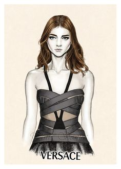 """""""Versace SS14""""  Fashion illustration from one of the Spring Summer 2014 Versace collection.  ..."""