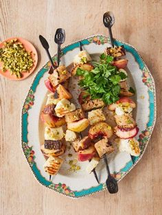 Halloumi skewers   Jamie Oliver recipes Trout Recipes, Veggie Recipes, Vegetarian Recipes, Veggie Meals, Veggie Bbq, Vegetarian Dinners, Healthy Dinners, Healthy Food, Halloumi