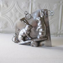 Antique Rabbit Bunny Chocolate Mold Letang Fils on See Saw