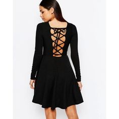 Club L Skater Dress With Extreme Lace Up Back ($29) ❤ liked on Polyvore featuring dresses, black, lace up dress, round neck dress, tall skater dress, tall dresses and lace front dress