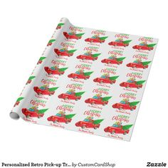 Personalized Retro Pick-up Truck Christmas Tree Wrapping Paper Vintage Christmas Party, Retro Christmas Decorations, Holiday Cards, Christmas Cards, Christmas Truck, Red Tree, Custom Wrapping Paper, Custom Cards, White Elephant Gifts