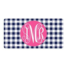Navy Gingham Car Tag| underthecarolinamoon.com