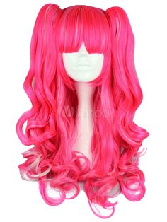 Hallowen Lolita Style Pink Color Cosplay Wavy Synthetic Hair Capless Wigs for Costume Cosplay Pinkie Pie Cosplay, Kawaii Wigs, Green Wig, Colored Wigs, Halloween Wigs, Wigs Online, Womens Wigs, Wig Styles, Curly Wigs