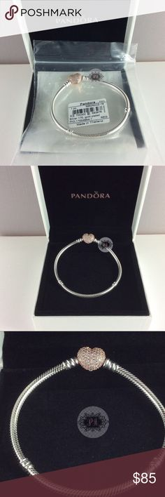 New Pandora Rose Gold Pave' Heart Bracelet 100% Authentic New Pandora Rose Sterling SilverPave' Heart Clasp Bracelet #586292CZ  Pandora Charms. Pandora New Charms. Pandora Retired Charms. Pandora Bracelets.  Condition: New  Signature Markings ALE R  Retail: $110.00  🛒PRICE IS FIRM UNLESS BUNDLED  ✅Please ask for a bundle discount before checkout. 🛑Box sold separately for $5 Pandora Jewelry Bracelets