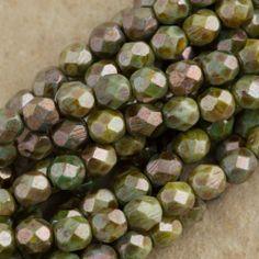 20 cuentas de cristal checo firepolished Verde//Rosa Coral