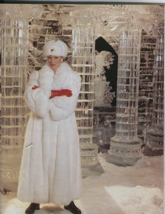 gorgeous white mink coat & hat. I'd love to get a hat like this with a big red star on it & play Natasha.....