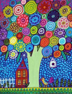 Flower Tree Folk Art Print Poster Painting Flowers Trees Landscape Modern Bird | eBay