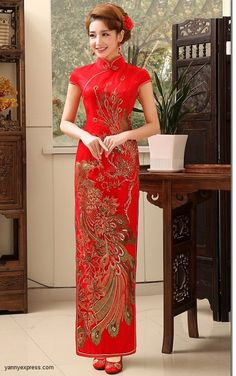 Chinese Bridal Qipao Phoenix Patterned Wedding Gown
