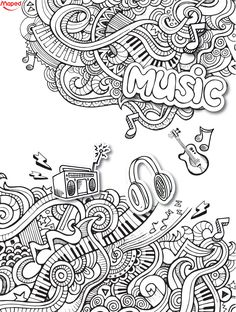 Love this music doodle coloring sheets, adult coloring pages, coloring books, doodle art Love Coloring Pages, Adult Coloring Book Pages, Coloring Sheets, Coloring Books, Kids Coloring, Guitar Doodle, Music Doodle, Doodle Doodle, Note Doodles