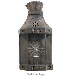 "Aged Tin Crown Wall Lantern Sconce  Dimensions: 8.5"" w x 4.5"" d x 17"" h"