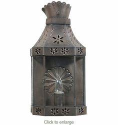 "Aged Tin Crown Wall Lantern Sconce  Dimensions: 8.5"" w x 4.5"" d x 17"" h"