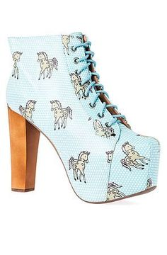 """The Lita Unicorn in Aqua by Jeffrey Campbell. The classic Lita style is introduced to us in a whole new aqua filled world. These are a spin on the infamous Lita that feature a leather upper, 5"""" heel, and an allover #unicorn print. $170"""