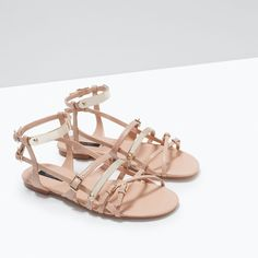 METAL PLATE FLAT SANDALS-Shoes-WOMAN-SALE   ZARA United States