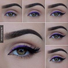 Purple Ombré Eyeliner - Makeup Tutorial - Make up hacks Lila Eyeliner, Purple Eyeliner, Makeup Tutorial Eyeliner, Eyeliner Hacks, Eyeliner Styles, How To Apply Eyeliner, No Eyeliner Makeup, Makeup Hacks, Makeup Tips