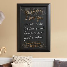 "All the Reasons Chalkboard - Add a little love to everyday notes with this romantic chalkboard. It's a sweet way to write the ""honey do"" list."