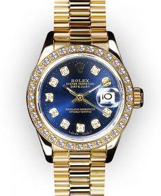 Ladies Blue Dial Beadset Bezel Rolex President  $8525.00  #RolexWomensWatch #Rolex #LuxuryWatches