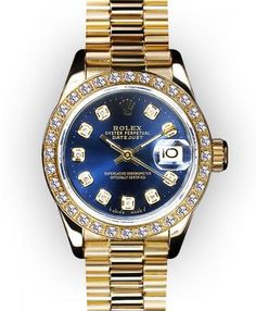 Rolex Ladies' President in 18K yellow gold with blue vignette diamond dial and diamond bezel. Approximately 1.00k of diamond. Automatic movement.