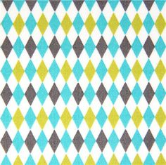 white Michael Miller fabric with mini harlequin pattern