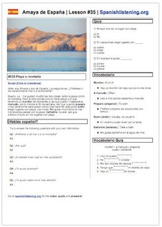 Spanish Listening Worksheet at www.spanishlistening.org with video, vocab, quiz, and more. Easy printable lesson with a video of a native Spanish speaker discussing a topic from her home in Spain.