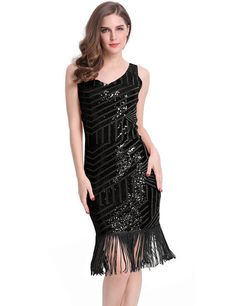 KAYAMIYA Womens Sequined Fringe Gatsby Flapper Prom Dress L Black     To  view further for this item fbf124b4d