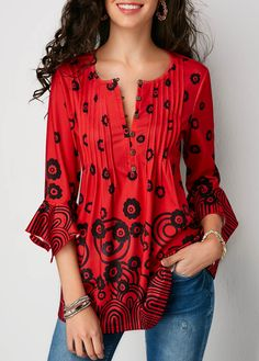 Flare Sleeve Pleated Button Detail Red Blouse | Rosewe.com - USD $32.77