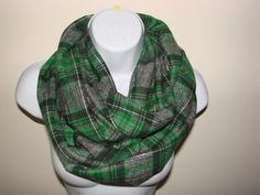 Plaid Infinity Scarf Green Gray Black Nomand by OtiliaBoutique, $26.50