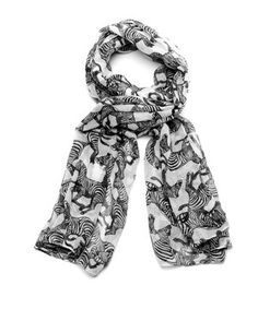 Zebra Herd Scarf - Black and White